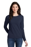 Women's Heavy Cotton 100 Cotton Long Sleeve TShirt Navy Thumbnail