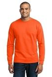 Long Sleeve 50/50 Cotton / Poly T-shirt Safety Orange Thumbnail