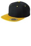 Flat Bill Snapback Cap Black with Gold Thumbnail