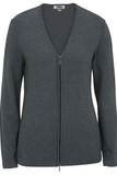 Women's Full Zip V-Neck Sweater Smoke Heather Thumbnail