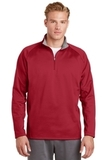 1/4-zip Fleece Pullover Deep Red with Silver Thumbnail