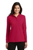 Women's Silk Touch Long Sleeve Polo Shirt Red Thumbnail