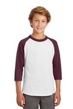 Youth Colorblock Raglan Jersey White with Maroon Thumbnail