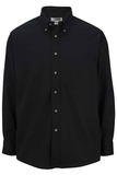 Men's Button Down Poplin Shirt LS Black Thumbnail