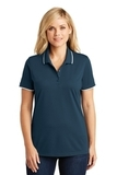 Women's Dry Zone UV MicroMesh Tipped Polo River Blue Navy with White Thumbnail