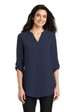 Women's 3/4-Sleeve Tunic Blouse True Navy Thumbnail