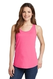 Women's 5.4 oz. 100 Cotton Tank Top Neon Pink Thumbnail