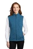 Women's Sweater Fleece Vest Medium Blue Heather Thumbnail