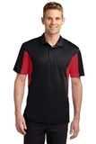 Side Blocked Performance Micropique Polo Shirt Black with True Red Thumbnail