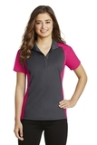 Women's Colorblock Micropique Sport-Wick Polo Iron Grey with Pink Raspberry Thumbnail