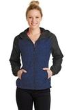 Women's Heather Colorblock Raglan Hooded Wind Jacket True Royal Heather with Black Thumbnail