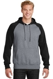 Raglan Colorblock Pullover Hooded Sweatshirt Black with Vintage Heather Thumbnail
