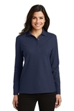 Women's Silk Touch Long Sleeve Polo Shirt Navy Thumbnail