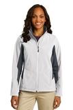 Women's Corevalue Colorblock Soft Shell Jacket Marshmallow with Battleship Grey Thumbnail