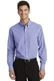 Long Sleeve Gingham Easy Care Shirt Blue with Purple Thumbnail