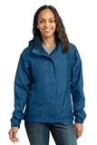 Women's Eddie Bauer Rain Jacket Deep Sea Blue with Dark Adriatic Thumbnail