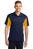 Side Blocked Performance Micropique Polo Shirt True Navy with Gold Thumbnail