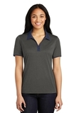 Women's Snag-Resistant Heather Contender Contrast Polo Graphite Heather with True Navy Thumbnail