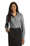 Women's Long Sleeve Gingham Easy Care Shirt Black with Charcoal Thumbnail
