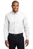 Tall Long Sleeve Easy Care Shirt White with Light Stone Thumbnail