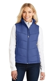 Women's Puffy Vest Mediterranean Blue with Black Thumbnail