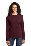 Women's Long Sleeve 5.4-oz 100 Cotton T-shirt Athletic Maroon Thumbnail