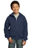 Youth Full-zip Hooded Sweatshirt Navy Thumbnail