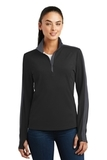 Women's SportWick Textured Colorblock 1/4-Zip Pullover Black with Iron Grey Thumbnail