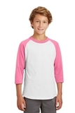 Youth Colorblock Raglan Jersey White with Bright Pink Thumbnail