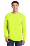Heavy Cotton 100 Cotton Long Sleeve T-shirt Safety Green Thumbnail
