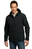 Textured Hooded Soft Shell Jacket Black with Engine Red Thumbnail