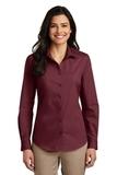 Women's Long Sleeve Carefree Poplin Shirt Burgundy Thumbnail