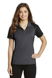 Women's Colorblock Micropique Sport-Wick Polo Iron Grey with Black Thumbnail