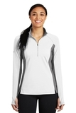 Women's SportWick Stretch Contrast 1/2-Zip Pullover White with Charcoal Grey Heather Thumbnail