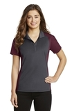 Women's Colorblock Micropique Sport-Wick Polo Iron Grey with Maroon Thumbnail