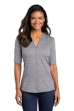 Women's Stretch Heather Open Neck Top Graphite with White Thumbnail