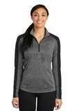 Women's Electric Heather Colorblock 1/4-Zip Pullover Grey Black Electric with Black Thumbnail