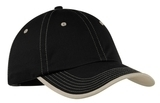 Vintage Washed Contrast Stitch Cap Black with Stone Thumbnail