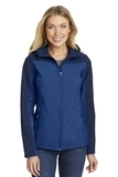 Women's Hooded Core Soft Shell Jacket Night Sky Blue with Dress Blue Navy Thumbnail