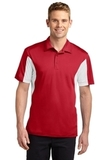 Side Blocked Performance Micropique Polo Shirt True Red with White Thumbnail