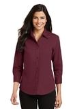 Women's 3/4-sleeve Easy Care Shirt Burgundy Thumbnail