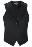 Women's Satin Shawl Vest Black Thumbnail