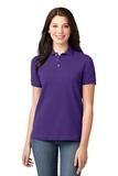 Women's Pique Knit Polo Shirt Purple Thumbnail