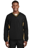 Tipped V-neck Raglan Wind Shirt Black with Gold Thumbnail