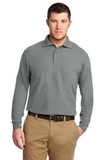 Silk Touch Long Sleeve Polo Shirt Cool Grey Thumbnail