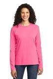 Women's Long Sleeve 5.4-oz 100 Cotton T-shirt Neon Pink Thumbnail