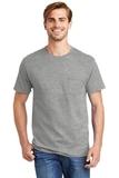 Tagless 100 Comfortsoft Cotton T-shirt With Pocket Light Steel Thumbnail