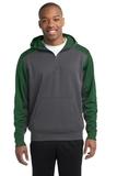 Sport-tek Colorblock Tech Fleece 1/4-zip Hooded Sweatshirt Graphite Heather with Forest Green Thumbnail