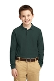 Youth Silk Touch Long Sleeve Sport Shirt Dark Green Thumbnail