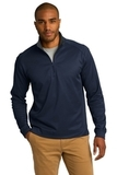 Heavyweight Vertical Texture 1/4-zip Pullover True Navy with Iron Grey Thumbnail